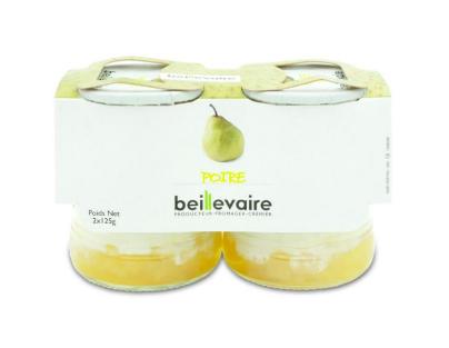 Yaourt aux fruits poire, Beillevaire (x 2, 250 g)