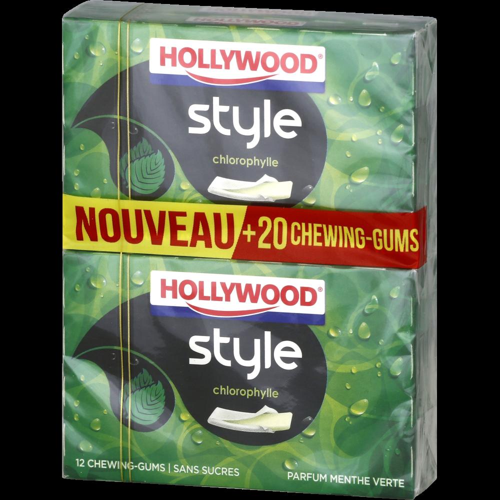 Chewing-gum Style Menthe verte sans sucre, Hollywood (4 étuis de 12 dragées)