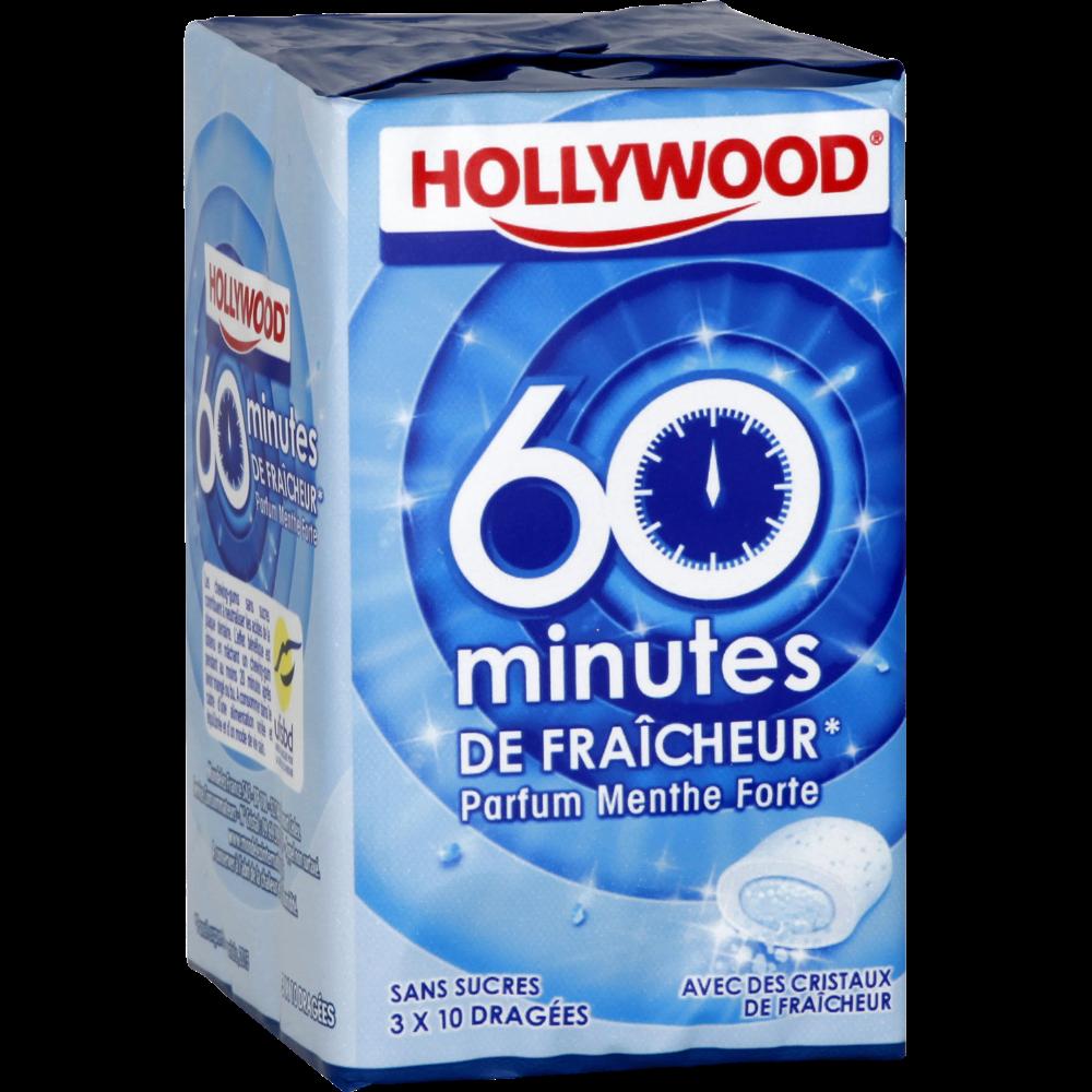 Chewing-gum dragées menthe forte 60 minutes de fraîcheur sans sucre, Hollywood (3 boites de 10 dragées)