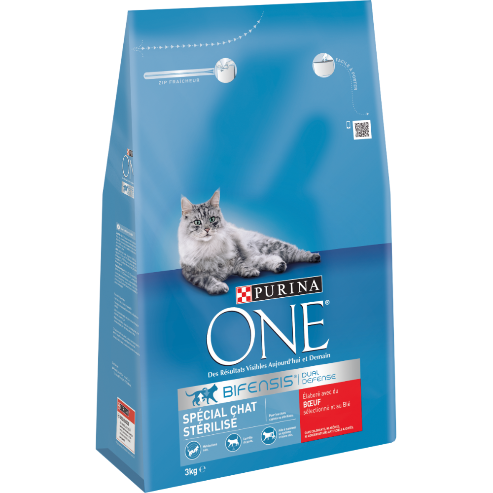 Croquettes pour chat adulte stérilisé au boeuf et au blé, Purina One (3 kg)