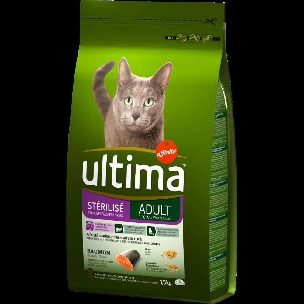 Croquettes pour chat stérilisé au saumon, Ultima (1,5 kg)