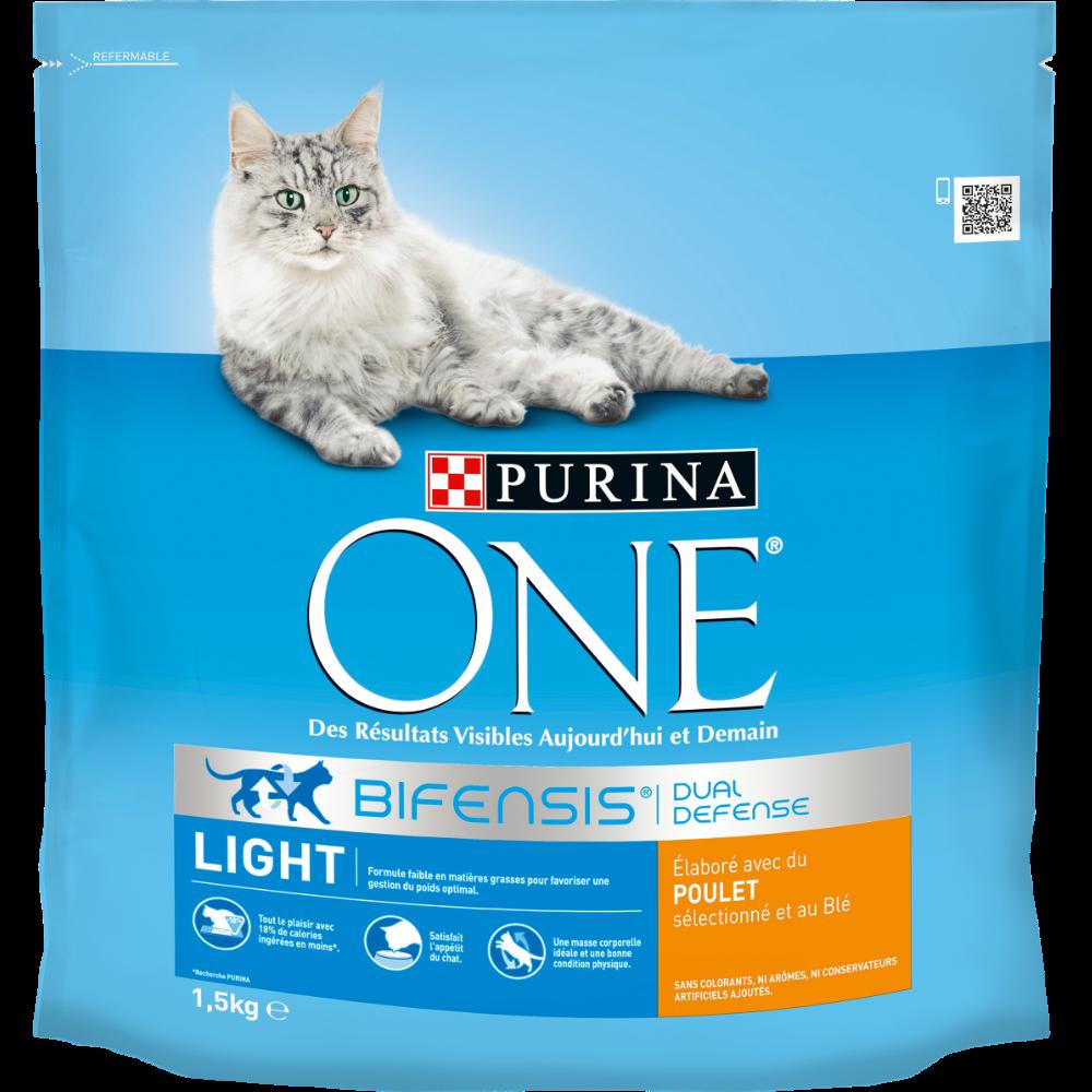 Croquettes pour chats adultes Light au poulet et au blé, Purina One (1,5 kg)