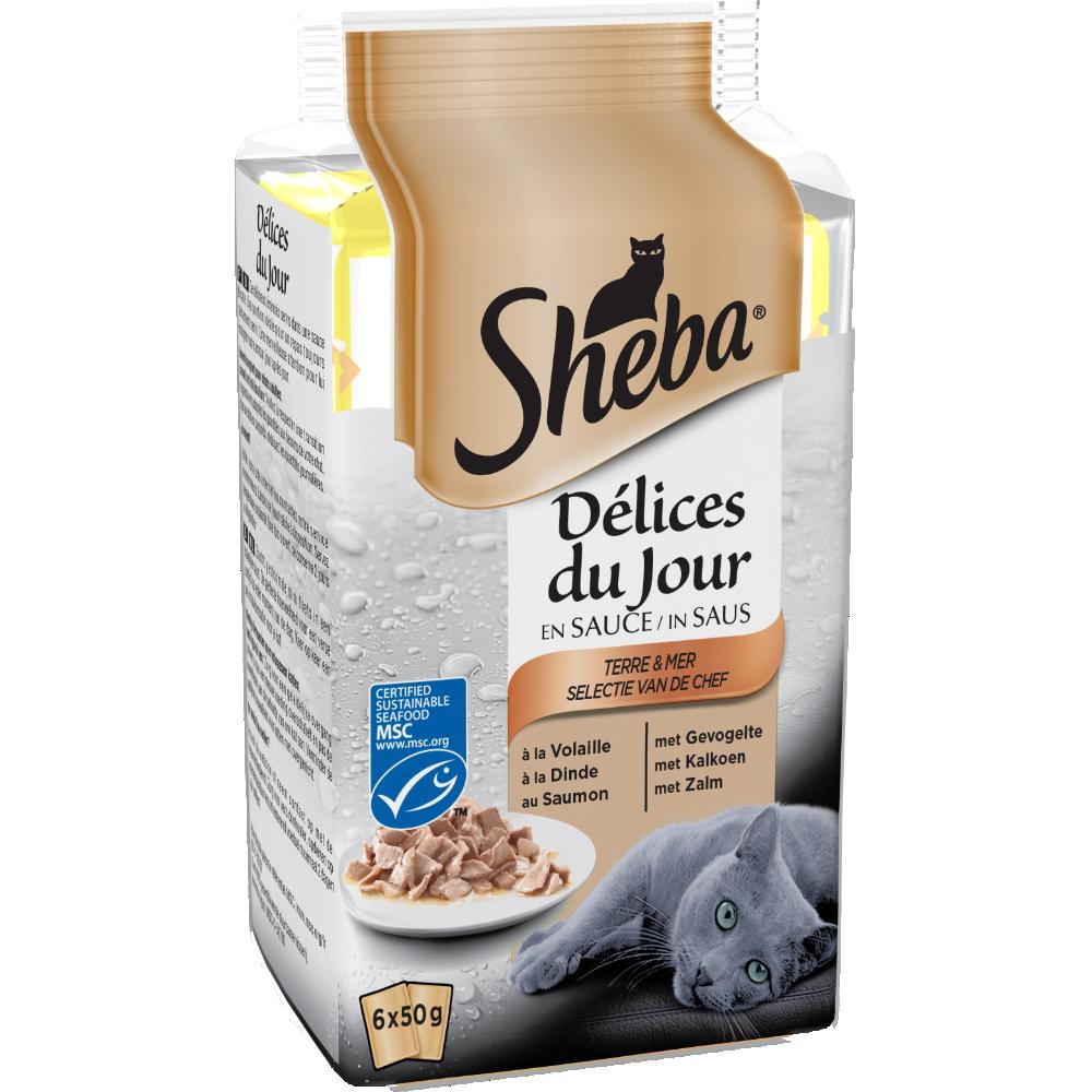 Délices du jour pour chat terre et mer, Sheba (6 x 50 g)