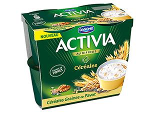 Yaourt céréales, graines de pavot Activia (4 x 120 g)