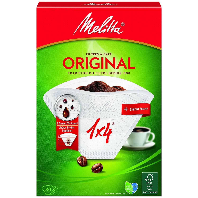 Filtres à café 1x4 + détartrant, Melitta (x 80)