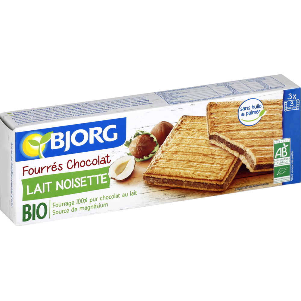 Fourrés au chocolat au lait et noisettes BIO, Bjorg (225 g)
