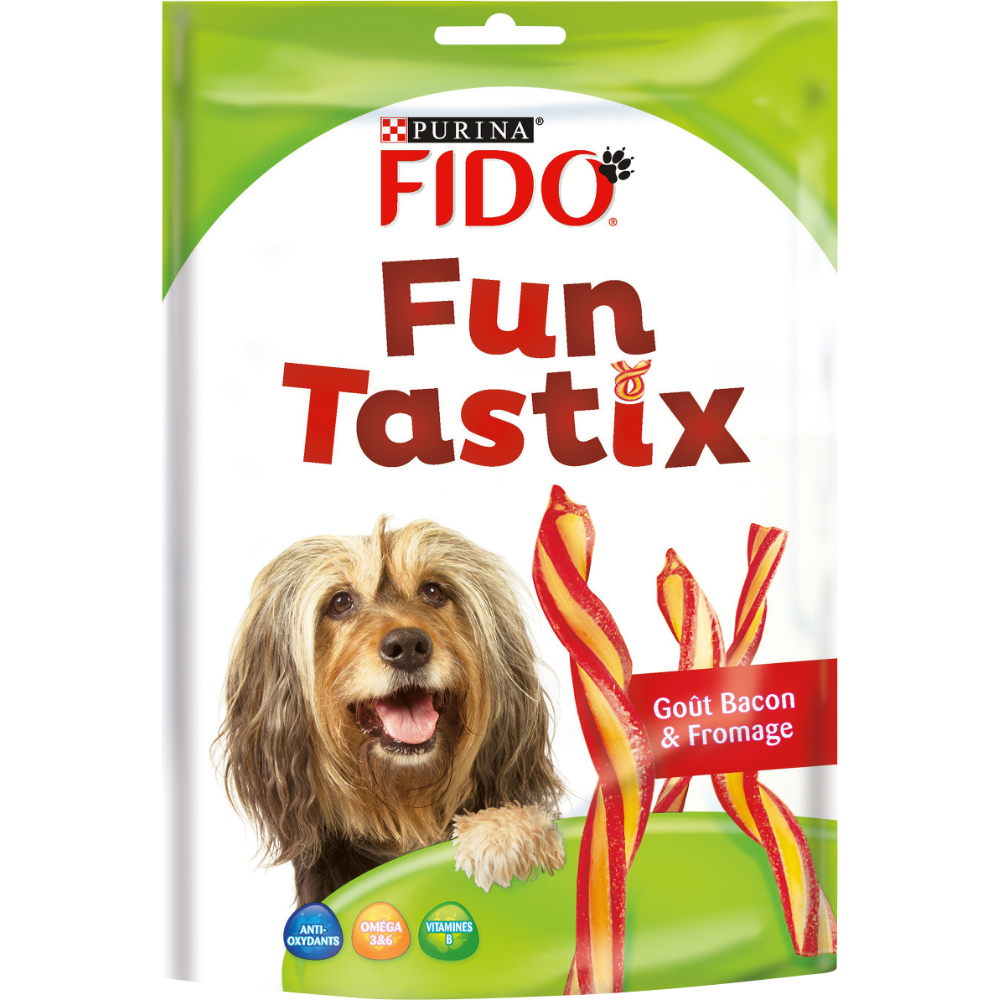 Friandises pour chien Funtastix goût bacon fromage Fido, Purina (150 g)