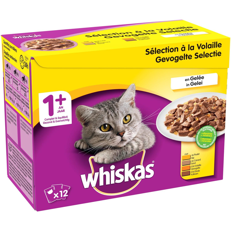 Gelée Sélection volaille pour chat 1+ an, Whiskas (12 x 100 g)