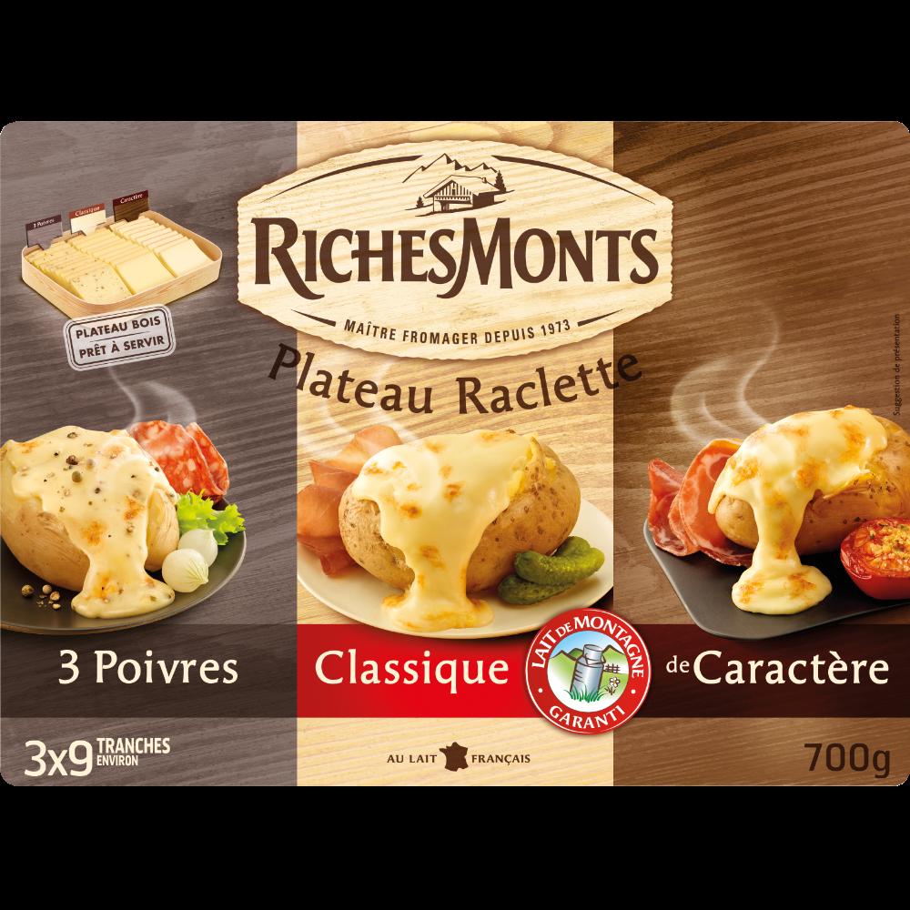 Plateau assortiment raclette au lait pasteurisé 3 poivres-classique-caractère, RichesMonts (27 tranches, 700 g)