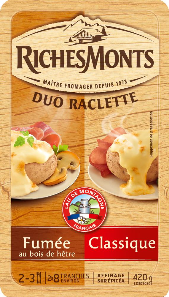 Raclette au lait pasteurisé duo classique-goût fumé, RichesMonts (16 tranches, 420 g)