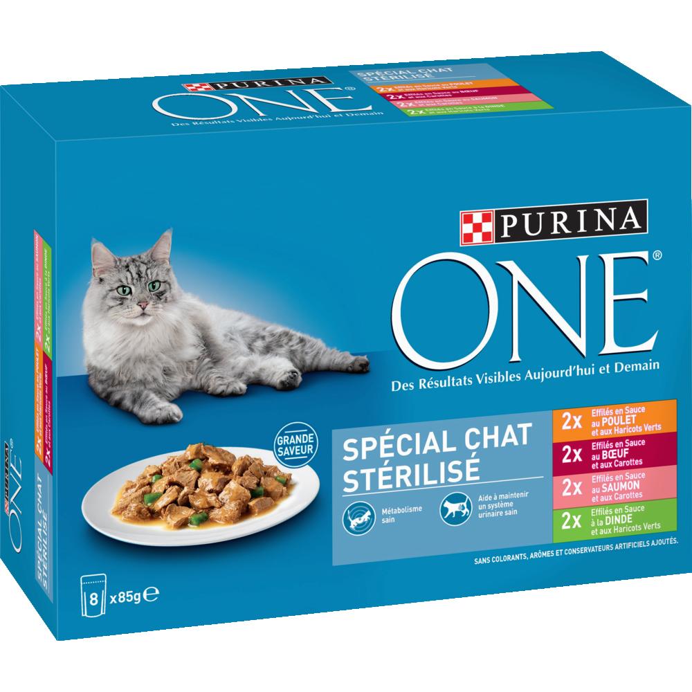 Sachets repas spécial chat stérilisé adultes, Purina One (8 x 85 g)