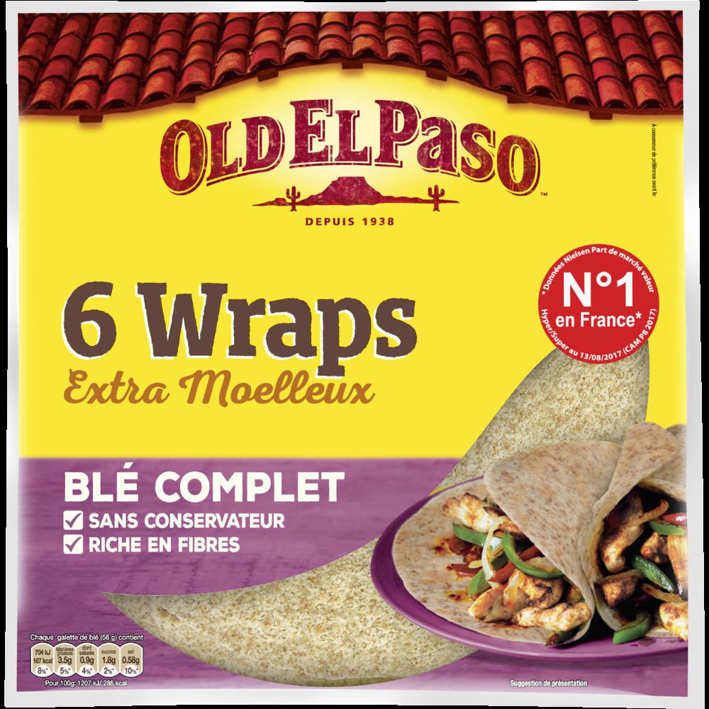 Wraps au blé complet, Old El Paso (x 6, 350 g)