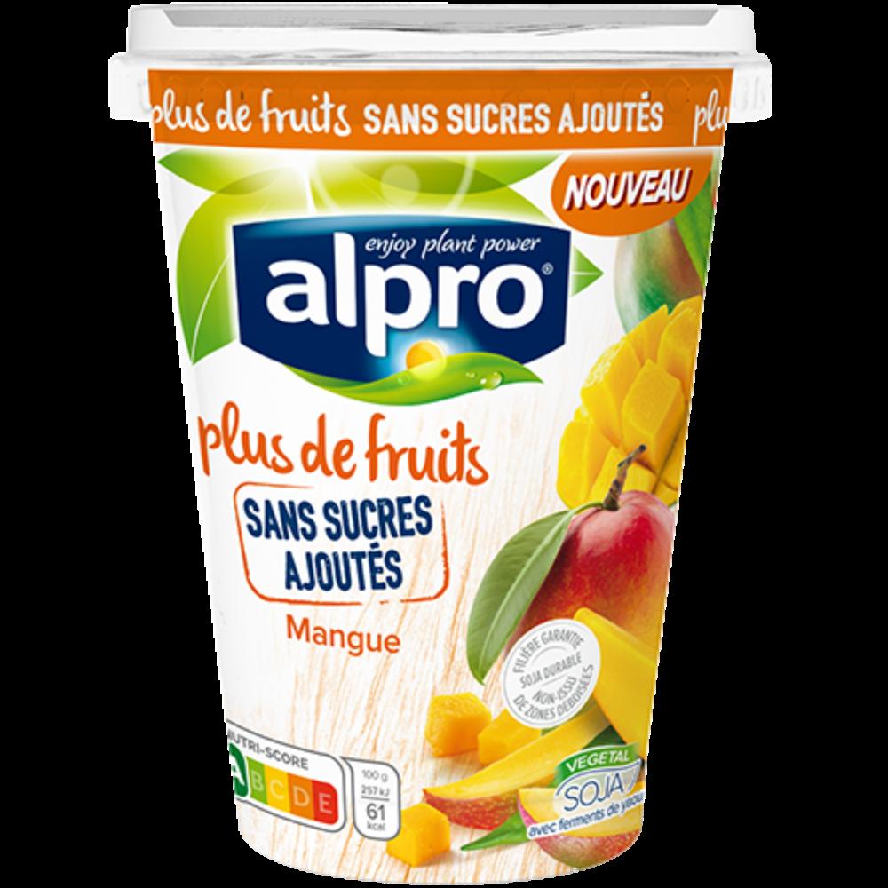 Dessert brassé au soja parfum mangue ans sucres ajoutés, Alpro (400 g)
