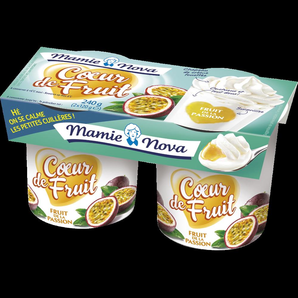 Yaourt aux fruits coeur de passion, Mamie Nova (2 x 120 g)