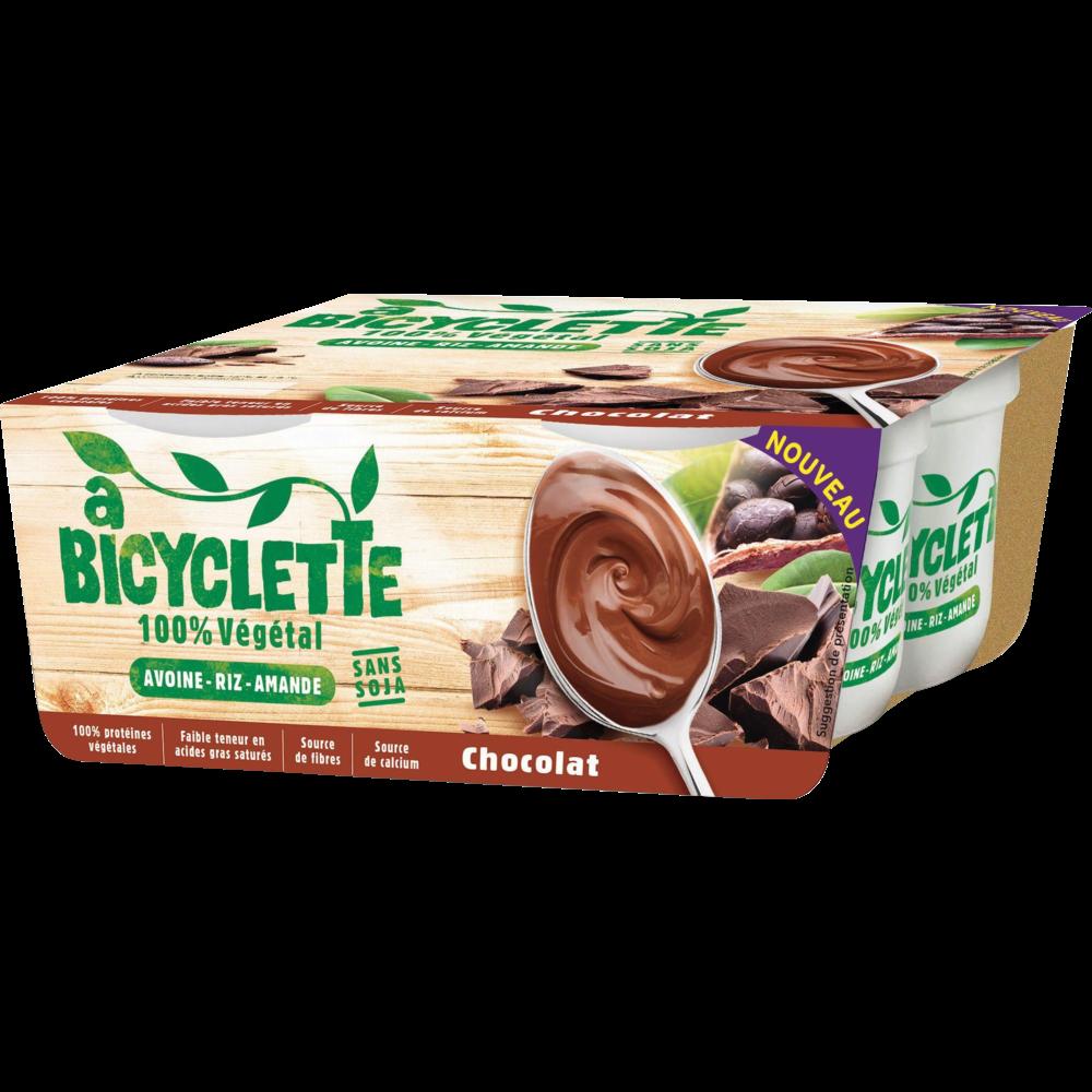 Dessert végétal d'avoine riz et amande au chocolat, A Bicyclette (4 x 100 g)
