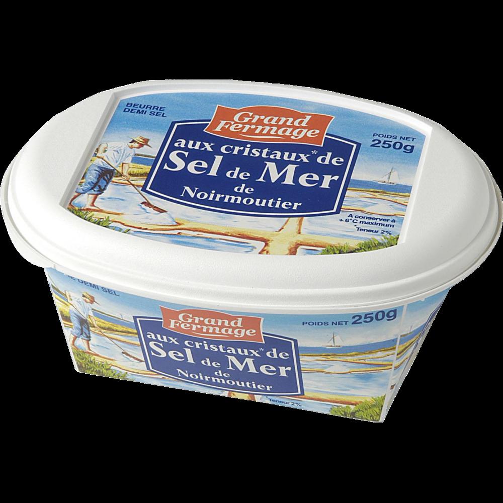 Beurre aux cristaux de sel de Noirmoutier en barquette, Grand Fermage (250 g)