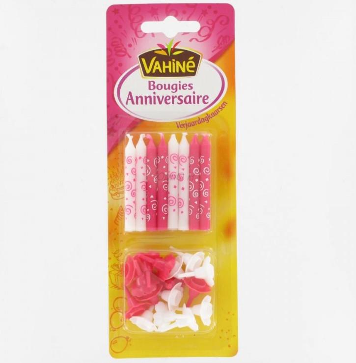 Bougies d'anniversaire bleues ou roses, Vahiné (x 16)