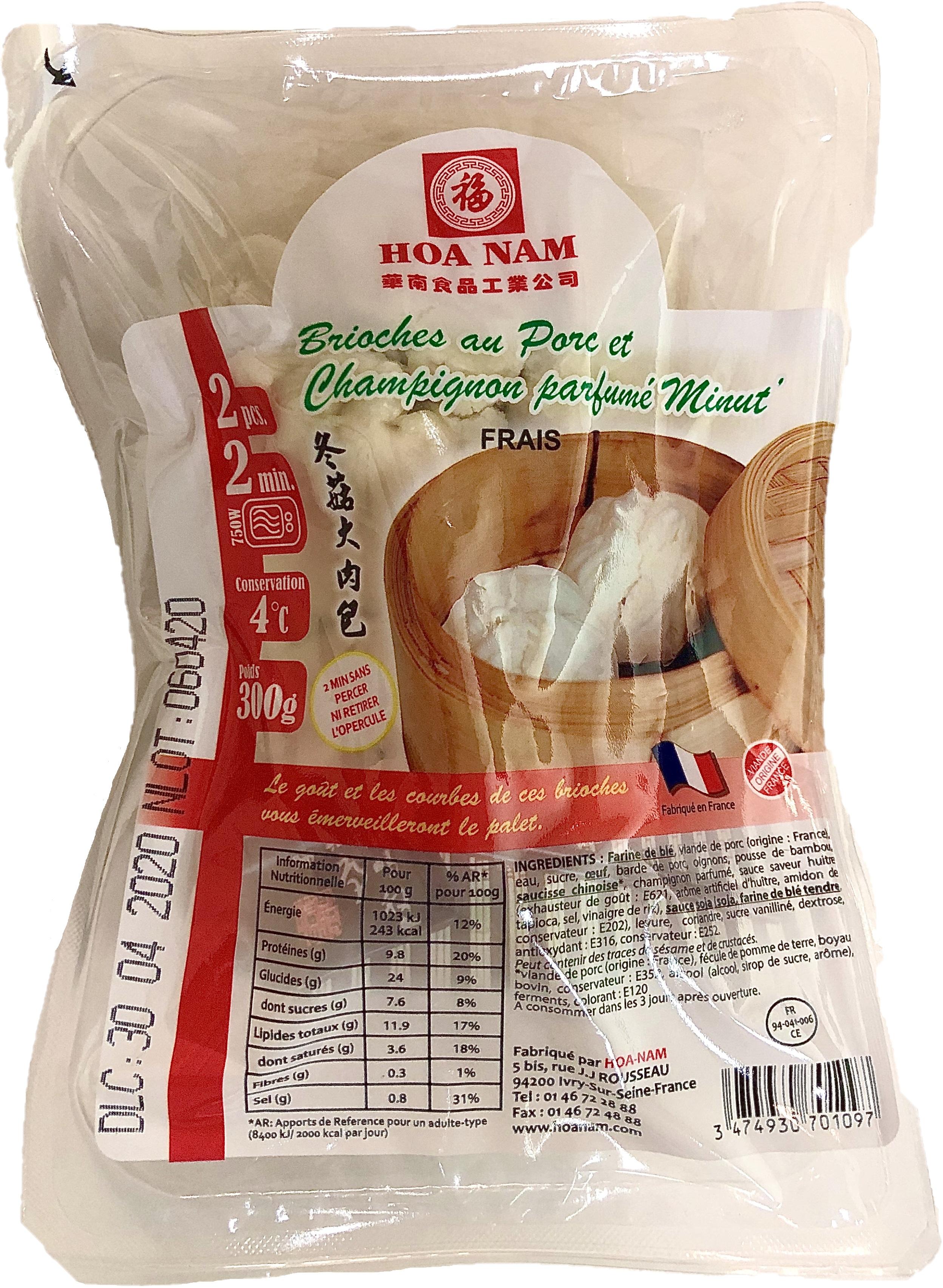 Brioche au porc et aux champignons Minut' 2 pièces, Hoanam (300 g)