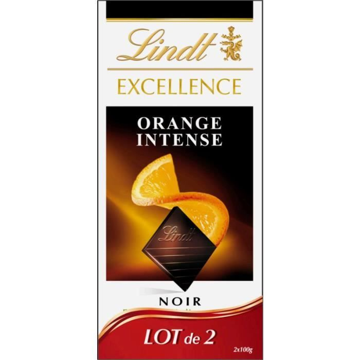 Chocolat noir orange intense, Lindt LOT DE 2 (2 x 100 g)