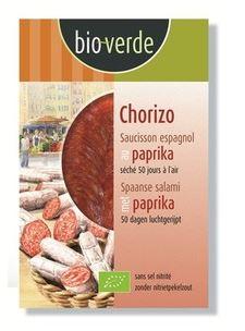 Chorizo salami tranché au poivron d'Espagne sans sel nitrité BIO, Bio Verde (80 g)