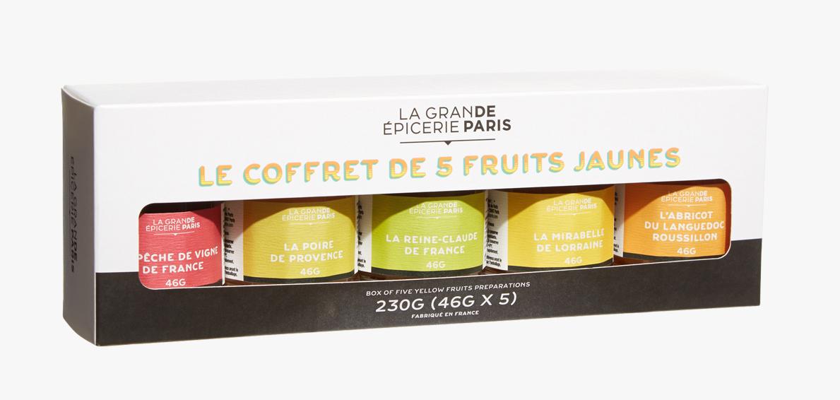 Coffret 5 confitures de fruits jaunes, La Grande Epicerie de Paris (x 5, 230 g)