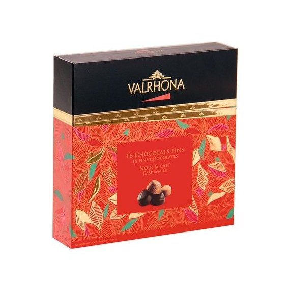 Coffret Collection Noël de 16 chocolats fins Lait et Noir, Valrhona (155 g)