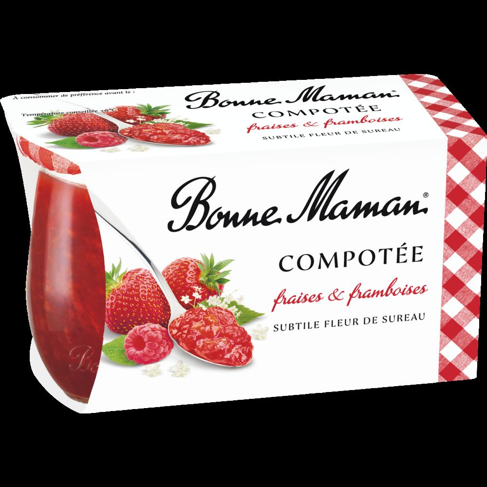 Compotée de fraises et de framboises à la fleur de sureau, Bonne Maman (2 x 130 g)