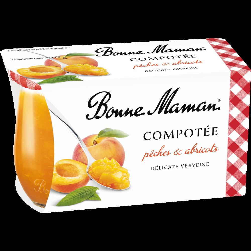 Compotée pêches abricots, Bonne Maman (2 x 130 g)