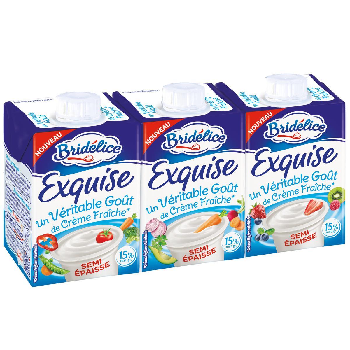 Crème fluide légère BIO 15% MG, Bridélice (3 x 20 cl)