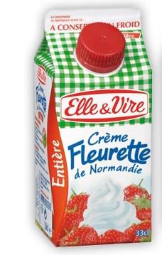 Crème Fleurette entière de Normandie, Elle & Vire (33 cl)