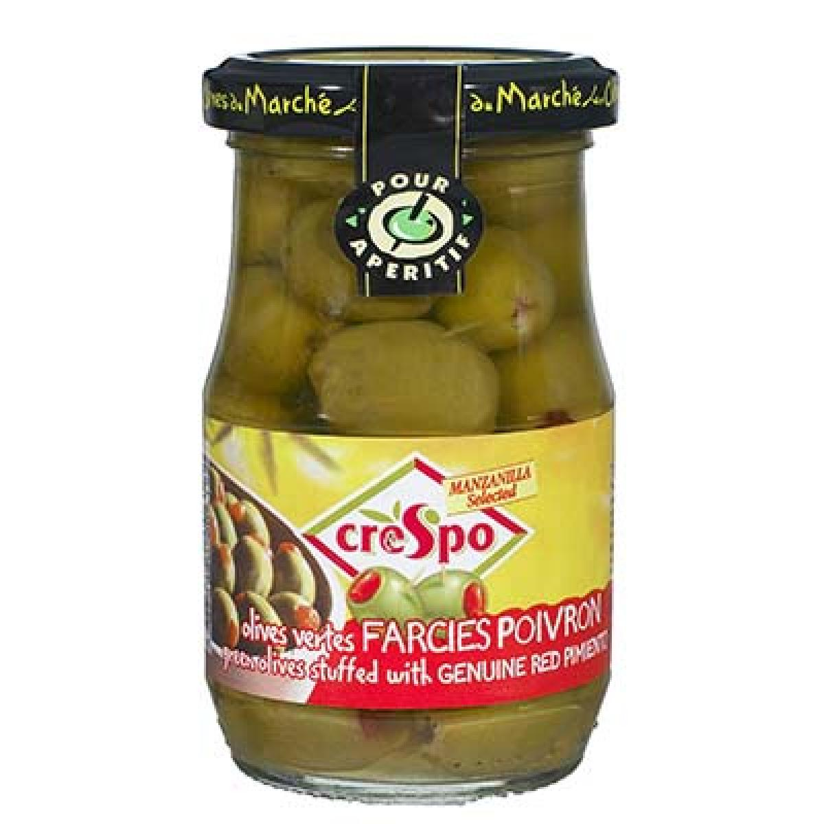 Olives vertes farcies aux poivrons, Crespo (21 cl)