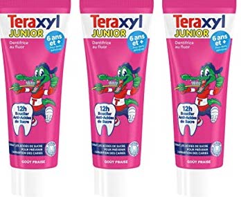 Dentifrice Junior Fraise 6 ans et +, Teraxyl LOT DE 2 + 1 GRATUIT (3 x 75 ml)