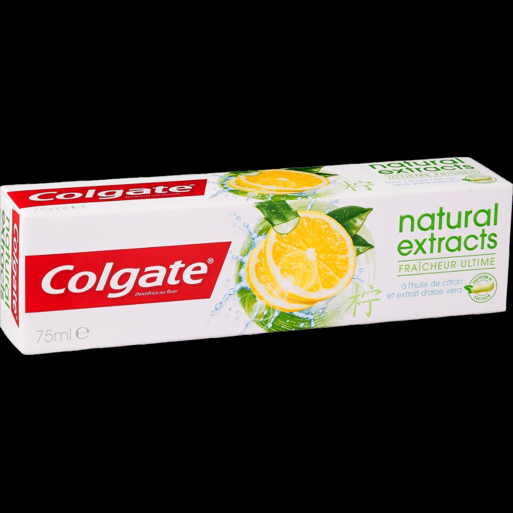 Dentifrice naturals fresh à l'huile de citron et extrait d'aloe véra, Colgate (75 ml)