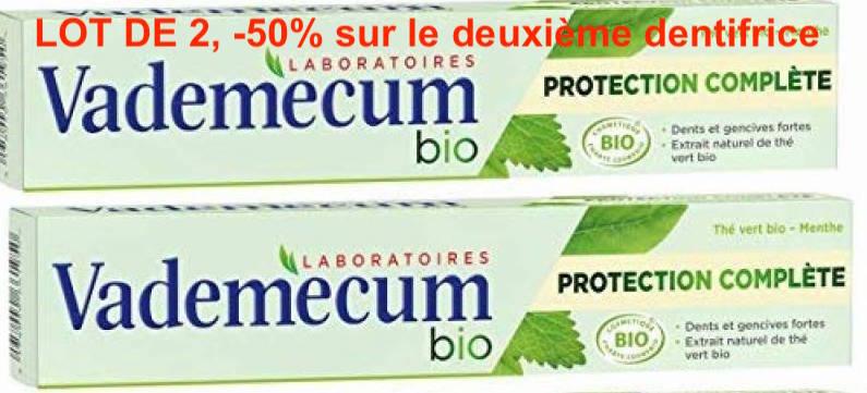 Dentifrice protection complète menthe/thé vert BIO, Vademecum LOT DE 2, -50% sur le 2ème (2 x 75 ml)