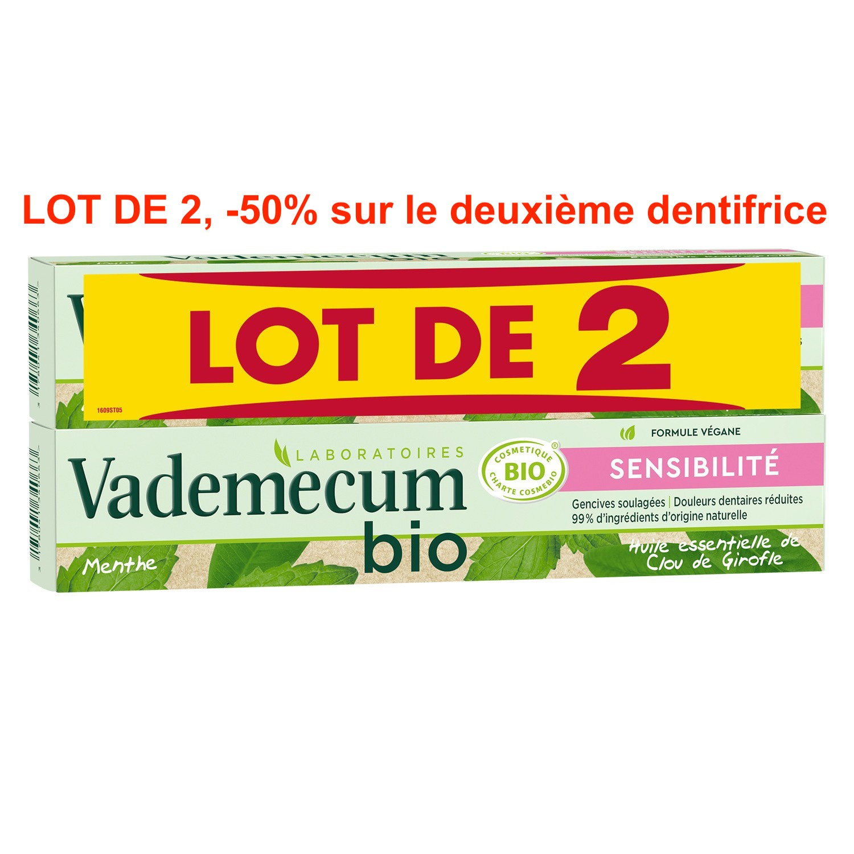 Dentifrice sensibilité girofle/menthe BIO, Vademecum LOT DE 2, -50% sur le 2ème (2 x 75 ml)