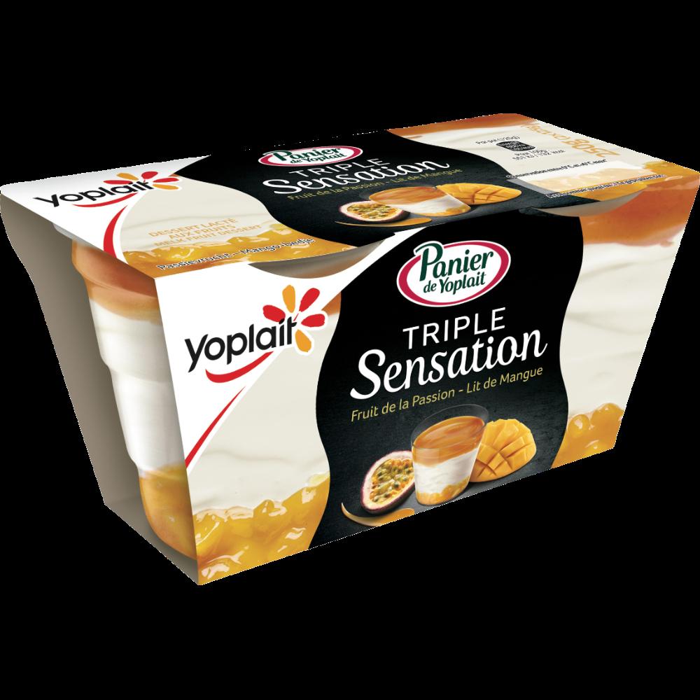 Dessert lacté triple sensation parfum passion mangues, Panier de Yoplait (2 x 125 g)