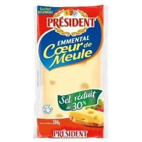 Emmental Coeur de meule sel réduit de 30%, Président (200 g)