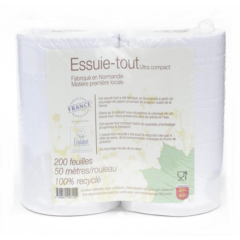 Essuie-tout blanc 100% recyclé, Papeco (200 feuilles)