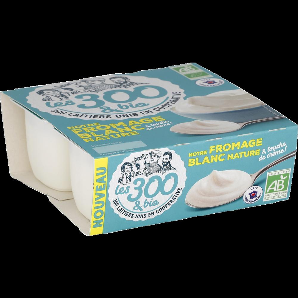 Fromage blanc nature au lait demi écrémé BIO, Les 300 & Bio (4 x 100 g)