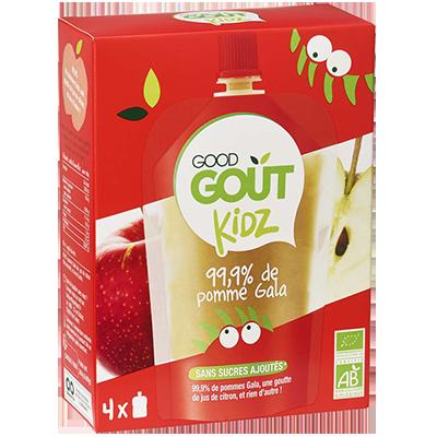 Gourdes Pomme Gala BIO - dès 3 ans, Good Goût Kid'z (4 x 90 g)