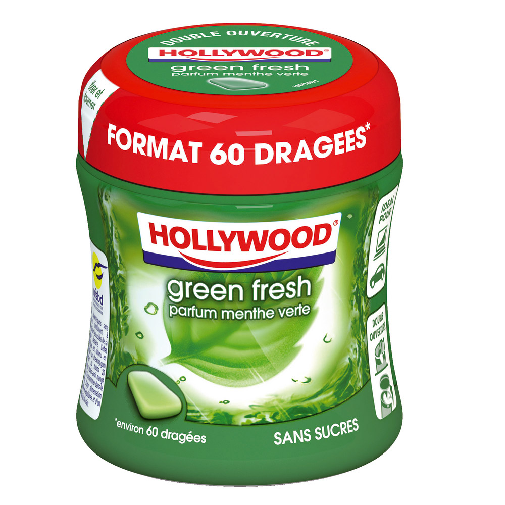 Chewing-gum dragées sans sucre Green Fresh Hollywood (x 60, 87 g)