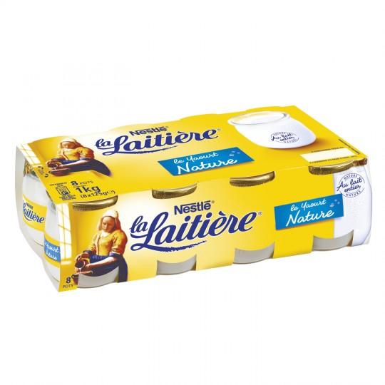 Yaourt nature au lait entier, La Laitiere (8 x 125 g)
