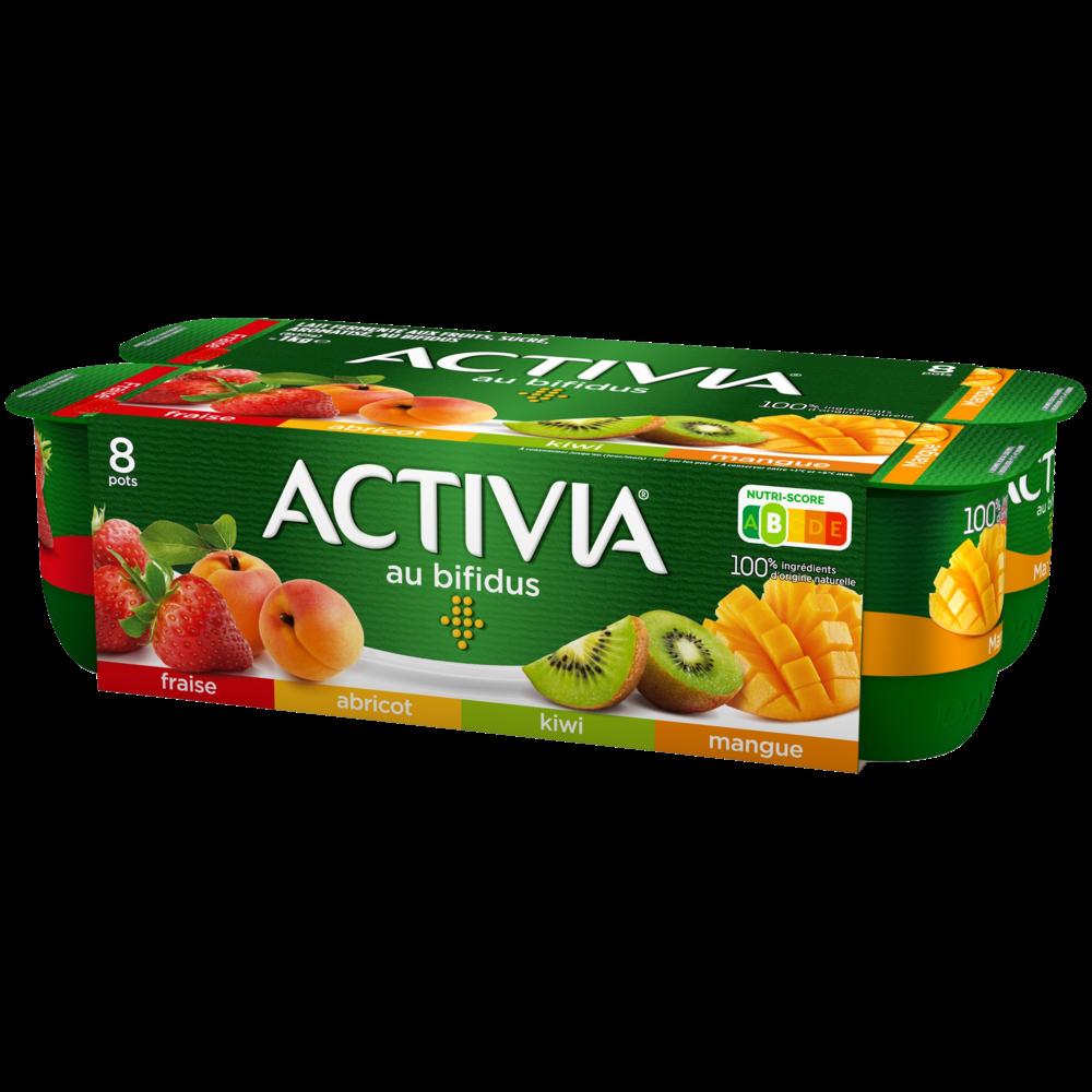 Yaourt Abricot, fraise, mangue, kiwi au bifidus, Activia (8 x 125 g)