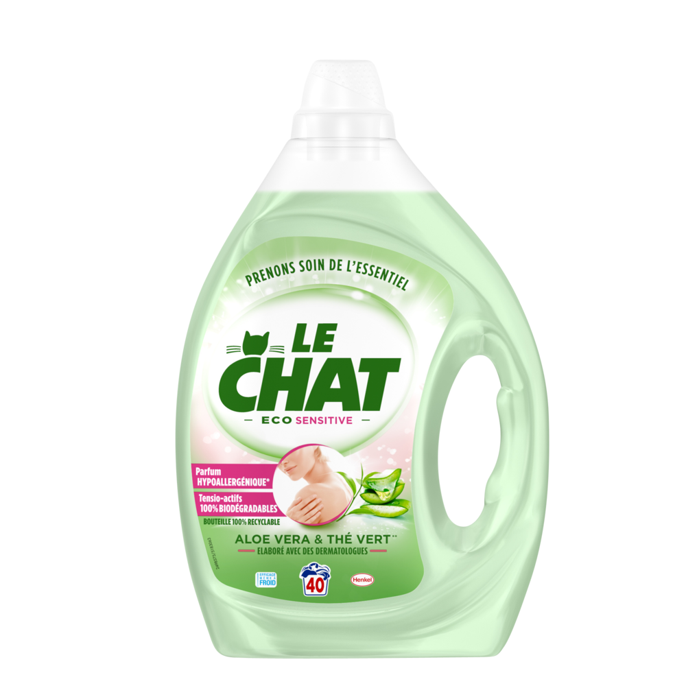 Lessive liquide Eco Sensitive, Le Chat (2 L = 40 lavages)