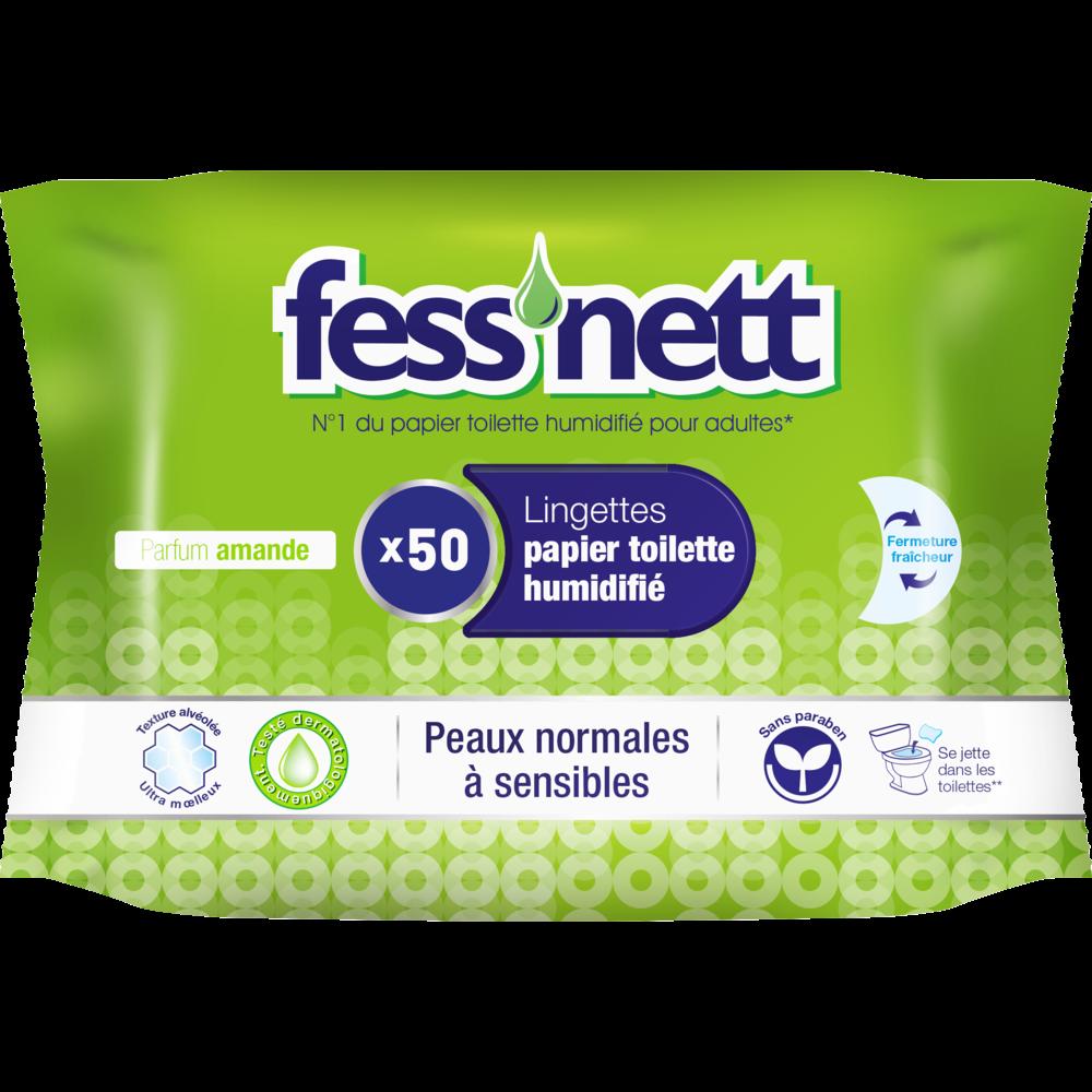 Lingettes de papier toilette humidifié vert parfum ylang pour peaux normales FESS'NETT, x50
