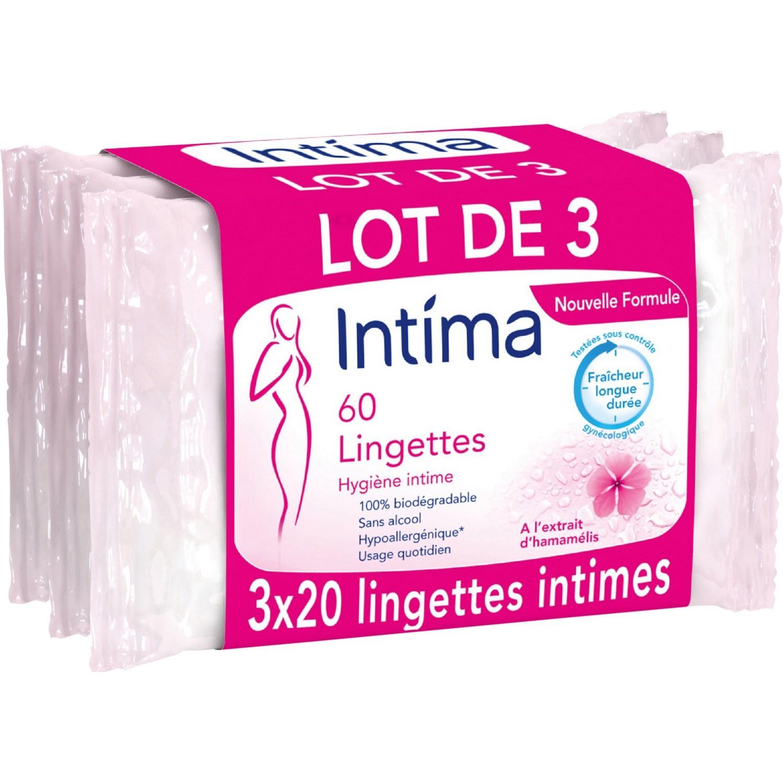 Lingettes de toilette intime fraîcheur longue durée, Intima LOT DE 3 (3 x 20)