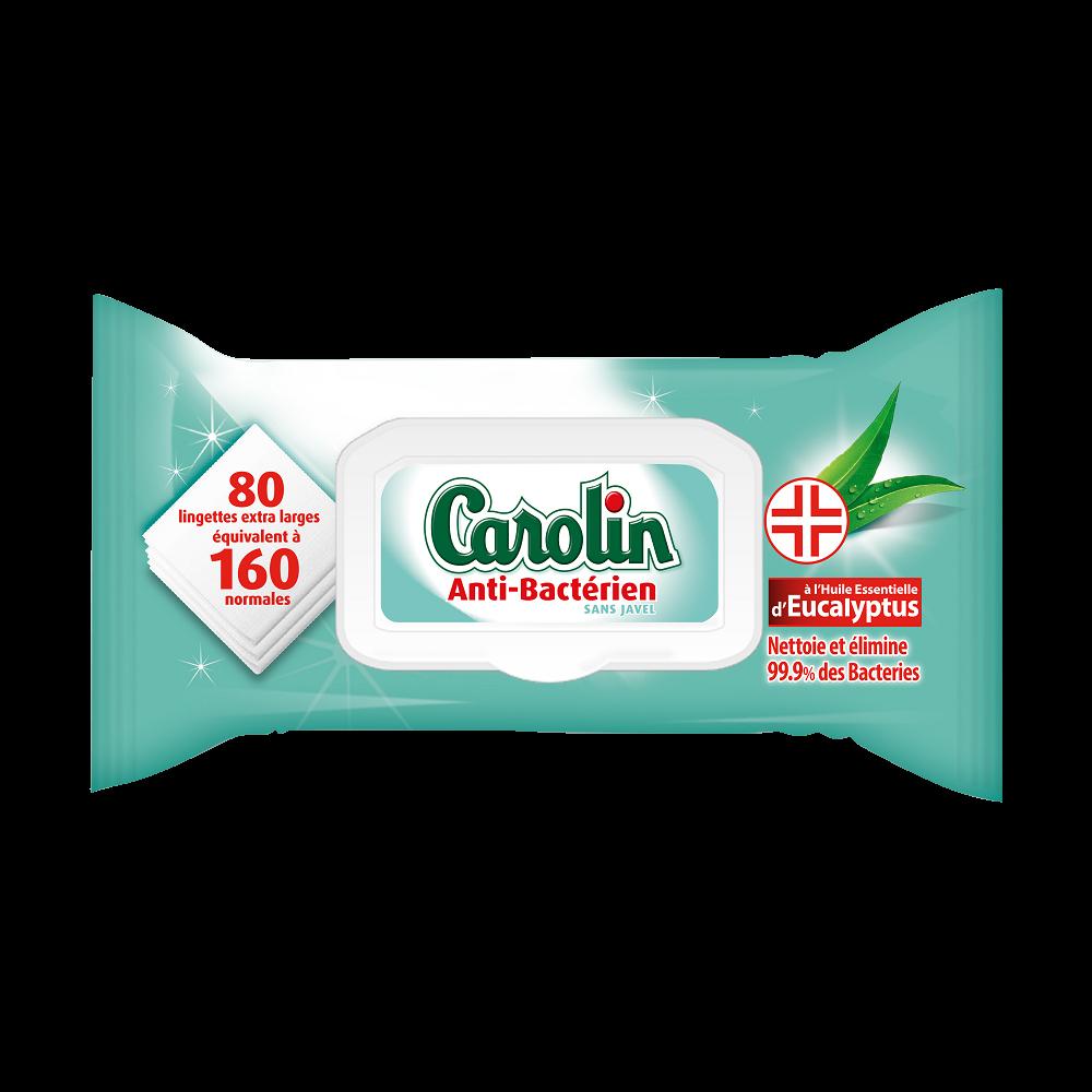 Lingettes multi-usages antibactériennes à l'eucalyptus, Carolin (x 80)