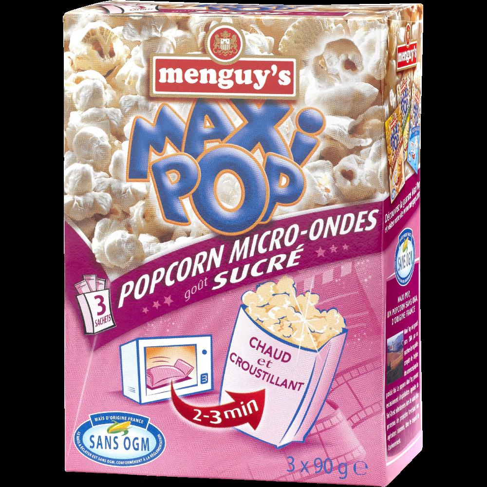 Maxi pop corn micro-ondes sucré, Menguy's (x 3, 270 g)