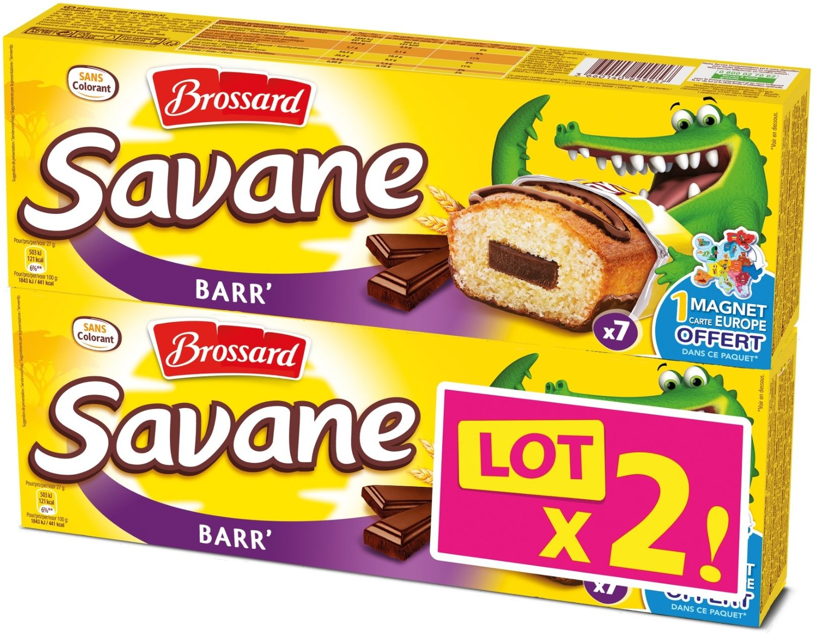 Mini Savane chocolat pocket barre, Brossard LOT DE 2 (14 x 27 g)