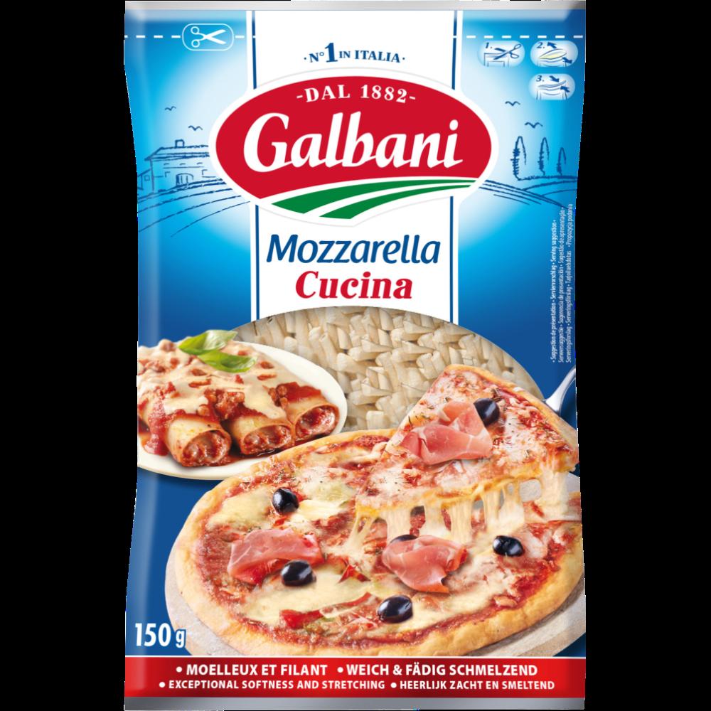 Mozzarella râpée au lait pasteurisé 25% de MG, Galbani (150 g)